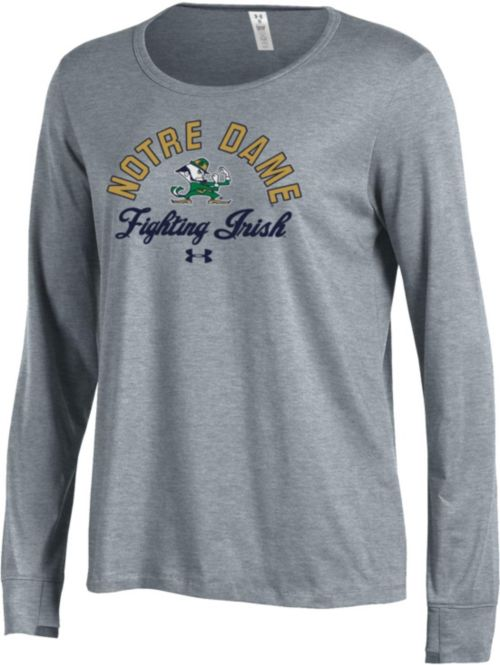 Under Armour Women S Notre Dame Fighting Irish Grey Charged Cotton