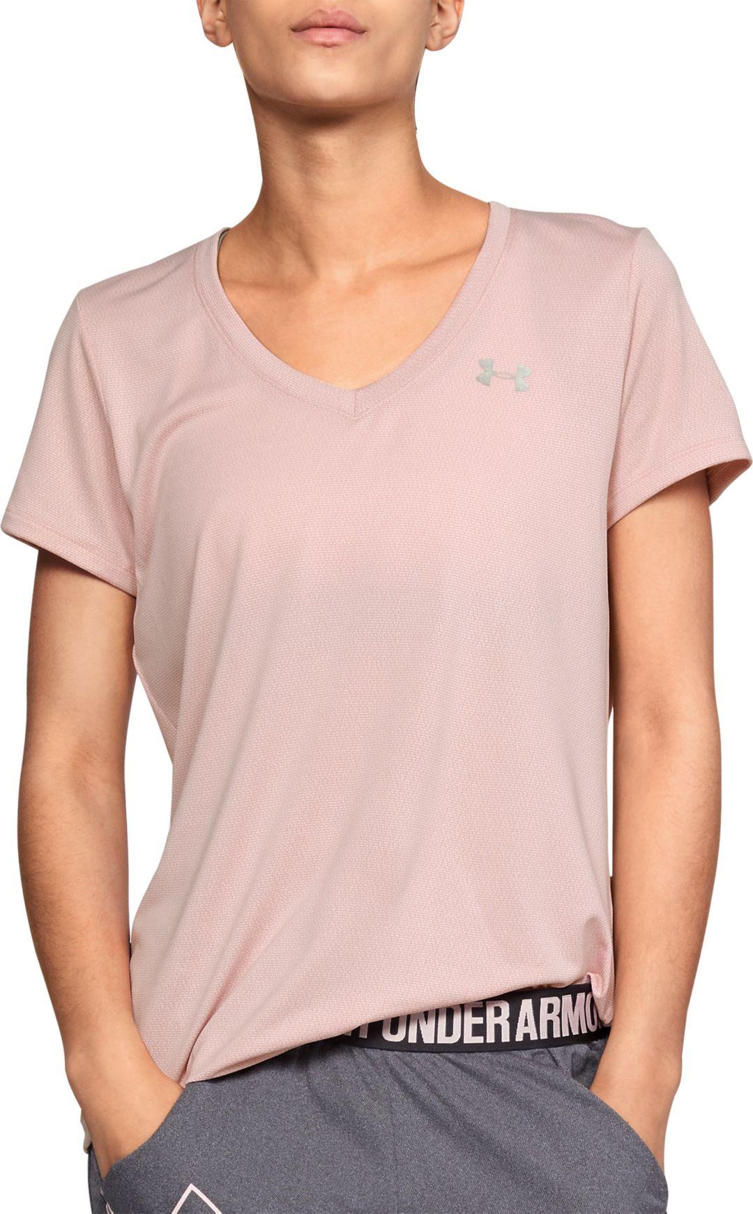 cf6f2aa54bcb Under Armour Women's Tech Short Sleeve V-Neck Ticker T-Shirt ...