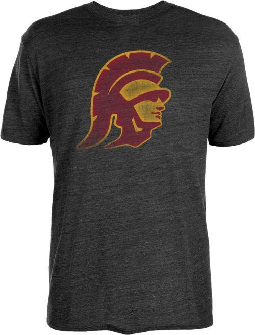 05451247e USC Authentic Apparel Men's USC Trojans Worn Tri-Blend Black T-Shirt ...