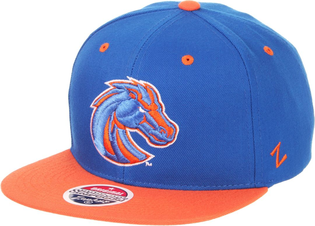 19bea5211749f9 Zephyr Men's Boise State Broncos Blue/Orange Script Adjustable Snapback Hat
