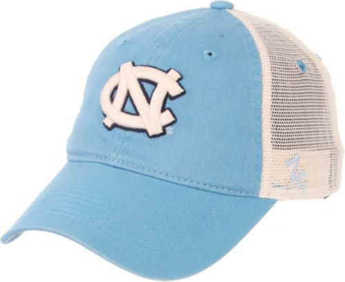 Zephyr Men s North Carolina Tar Heels Carolina Blue Cream Trucker Logo  Snapback Hat 60745a1d3234