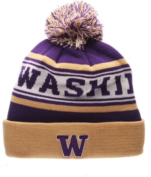 0d469f712e1 Zephyr Men s Washington Huskies Purple Finish Line Pom Knit Beanie.  noImageFound. Previous. 1. 2