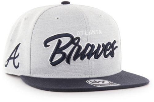 85b564b0c6293  47 Men s Atlanta Braves Street Script Captain Adjustable Snapback Hat