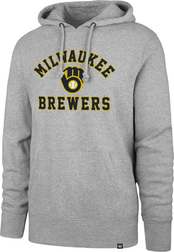 '47 Men's Milwaukee Brewers Grey Headline Pullover Hoodie product image