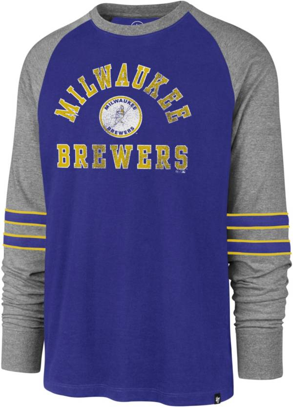 '47 Men's Milwaukee Brewers Royal Wind-up Raglan Long Sleeve Shirt product image