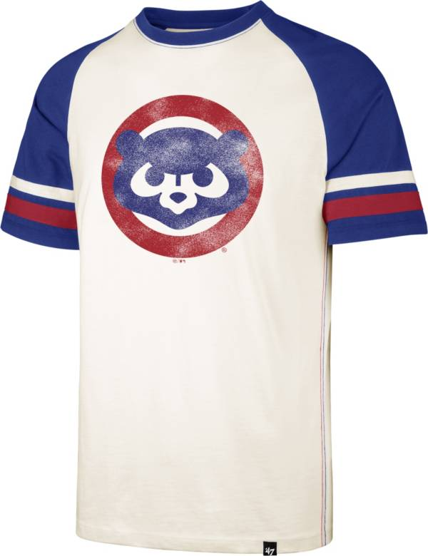 '47 Men's Chicago Cubs Cream Cooperstown Tri-Blend Raglan T-Shirt product image
