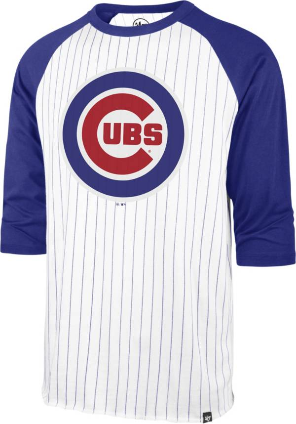 '47 Men's Chicago Cubs White Pinstripe Raglan Three-Quarter Sleeve T-Shirt product image
