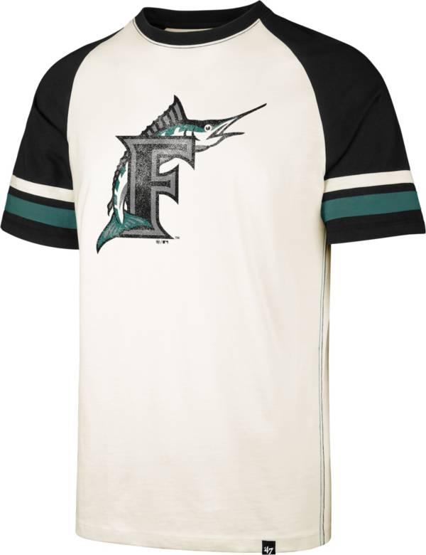 '47 Men's Miami Marlins Cream Cooperstown Tri-Blend Raglan T-Shirt product image