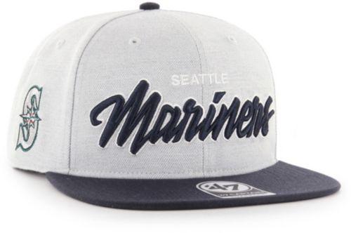 14c5990d3588b  47 Men s Seattle Mariners Street Script Captain Adjustable Snapback Hat