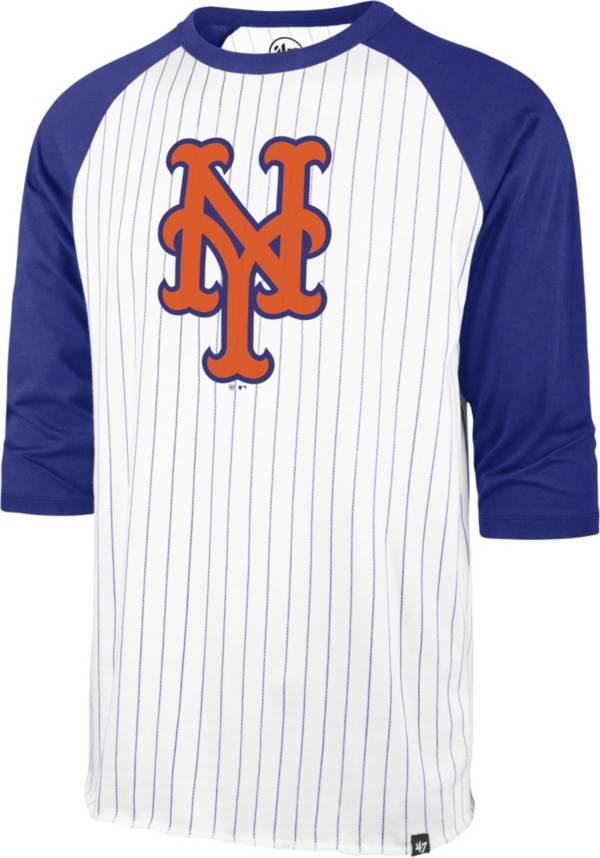 '47 Men's New York Mets White Pinstripe Raglan Three-Quarter Sleeve T-Shirt product image