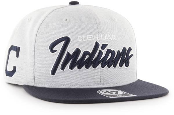 '47 Men's Cleveland Indians Street Script Captain Adjustable Snapback Hat product image