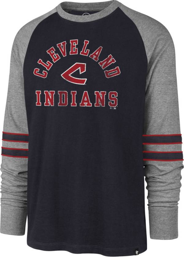 '47 Men's Cleveland Indians Navy Wind-up Raglan Long Sleeve Shirt product image