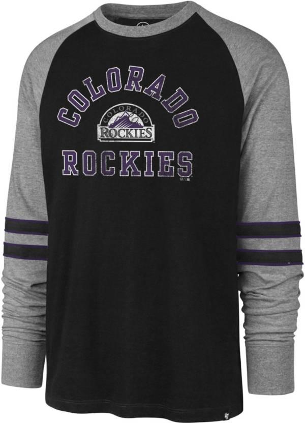 '47 Men's Colorado Rockies Black Wind-up Raglan Long Sleeve T-Shirt product image