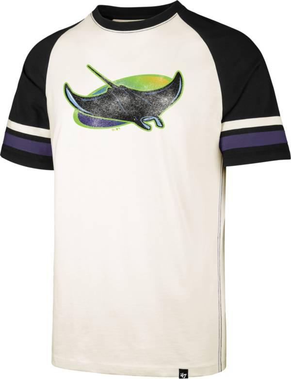 '47 Men's Tampa Bay Rays Cream Cooperstown Tri-Blend Raglan T-Shirt product image