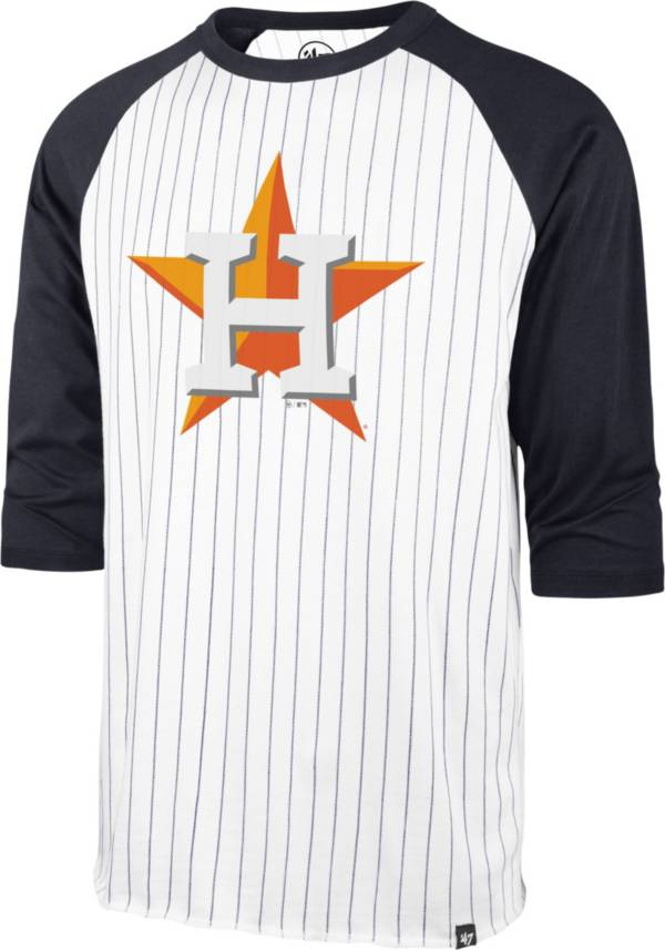 '47 Men's Houston Astros White Pinstripe Raglan Three-Quarter Sleeve T-Shirt product image
