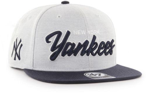 d805b11b489a2  47 Men s New York Yankees Street Script Captain Adjustable Snapback Hat