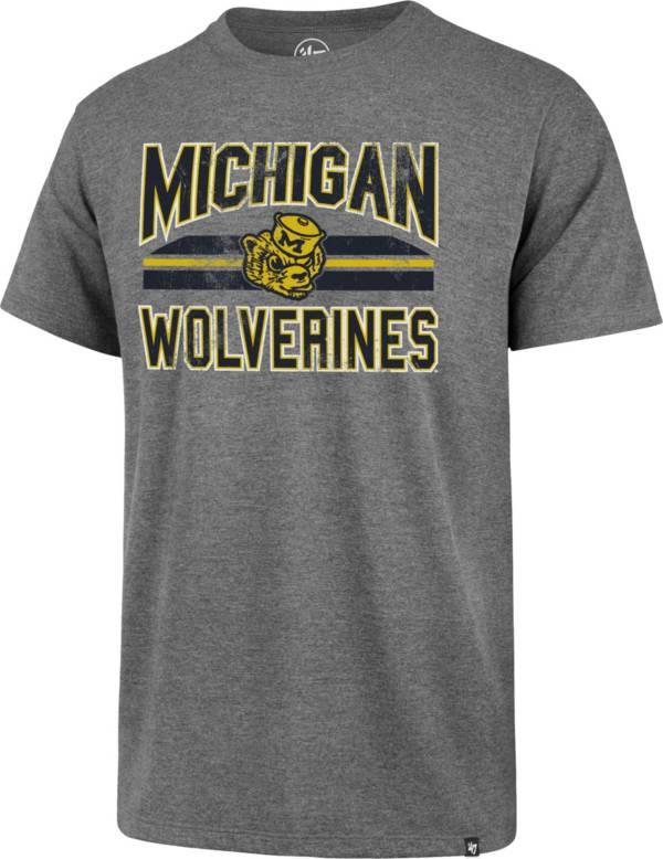 '47 Men's Michigan Wolverines Grey Major Stripe Club T-Shirt product image