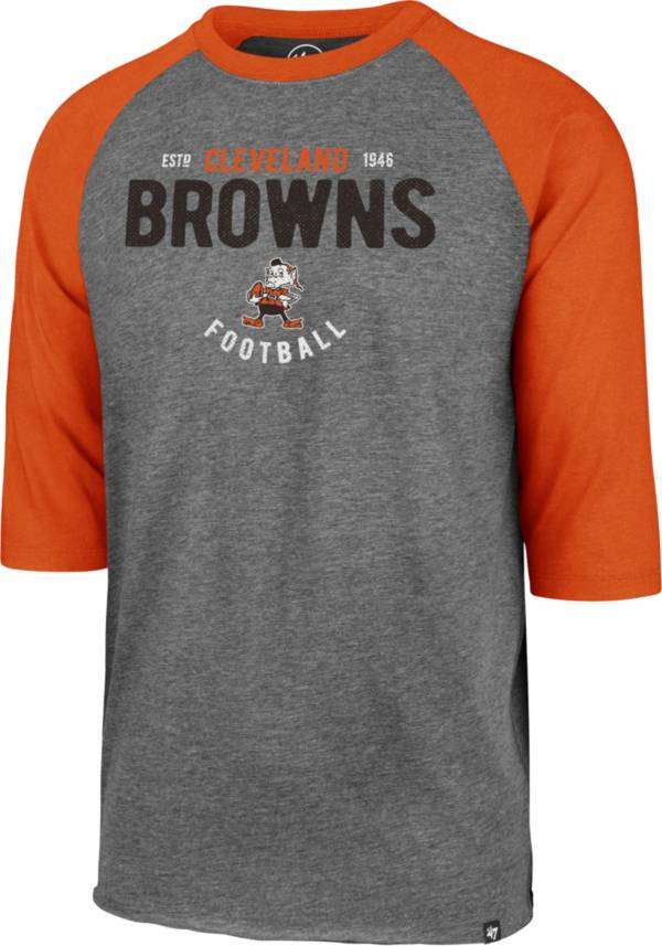 '47 Men's Cleveland Browns Club Legacy Grey Raglan Shirt product image
