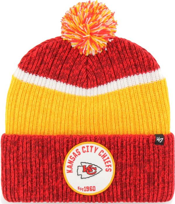 '47 Men's Kansas City Chiefs Holcomb Red Cuffed Pom Knit Hat product image