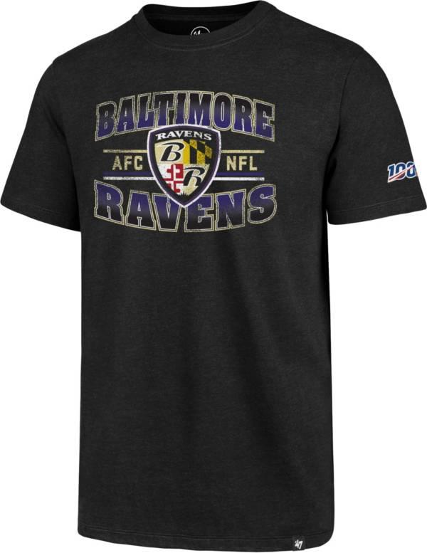 '47 Men's Baltimore Ravens 100th Club Black T-Shirt product image