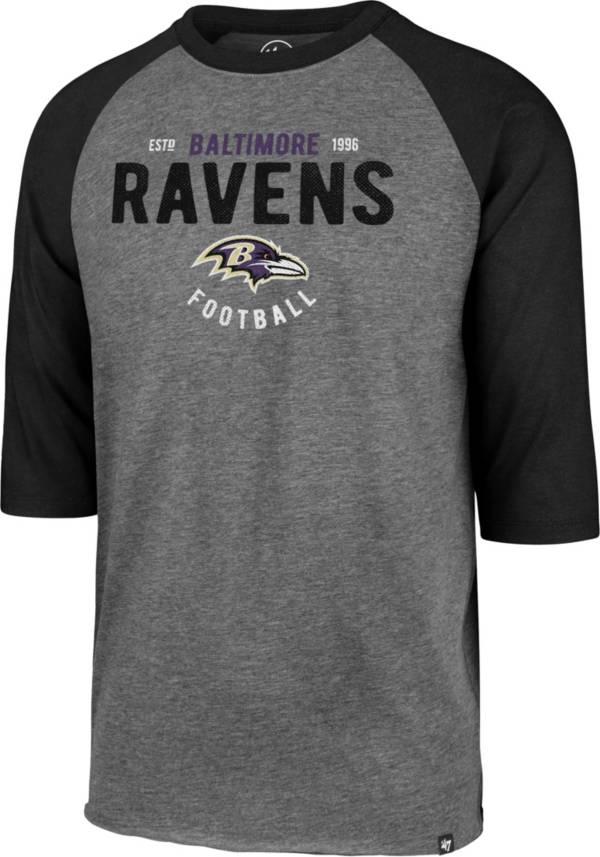 '47 Men's Baltimore Ravens Club Grey Raglan Shirt product image