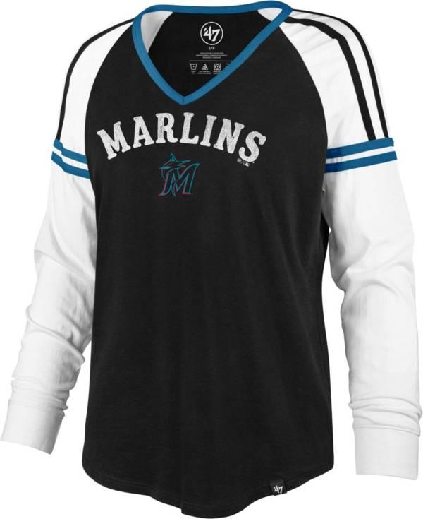 '47 Women's Miami Marlins Black Prime Long Sleeve V-Neck T-Shirt product image