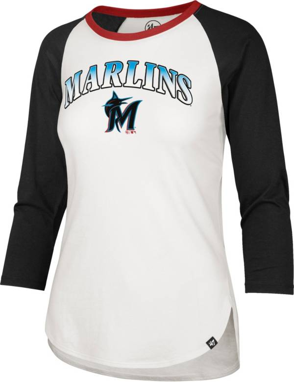 '47 Women's Miami Marlins Teal Splitter Raglan Three-Quarter Sleeve T-Shirt product image