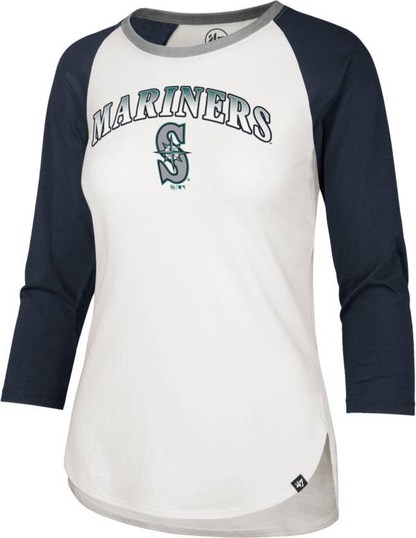 '47 Women's Seattle Mariners Navy Splitter Raglan Three-Quarter Sleeve T-Shirt product image