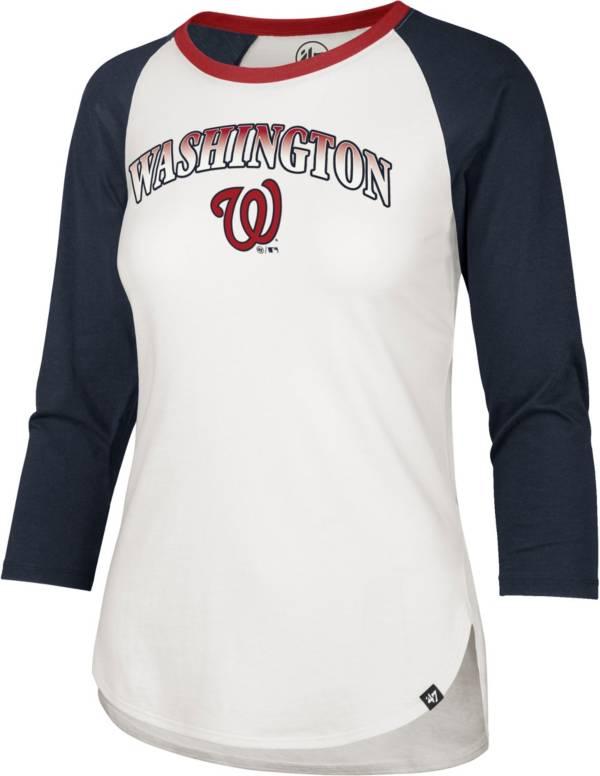 '47 Women's Washington Nationals Red Splitter Raglan Three-Quarter Sleeve T-Shirt product image