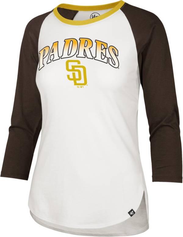 '47 Women's San Diego Padres Midnight Blue Splitter Raglan Three-Quarter Sleeve T-Shirt product image