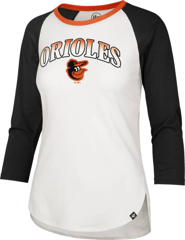 '47 Women's Baltimore Orioles Black Splitter Raglan Three-Quarter Sleeve T-Shirt product image