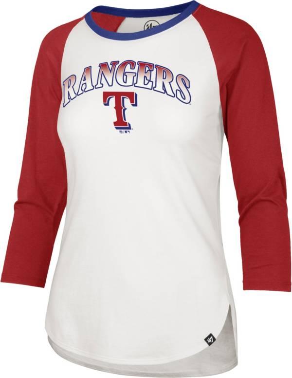 '47 Women's Texas Rangers Blue Splitter Raglan Three-Quarter Sleeve T-Shirt product image