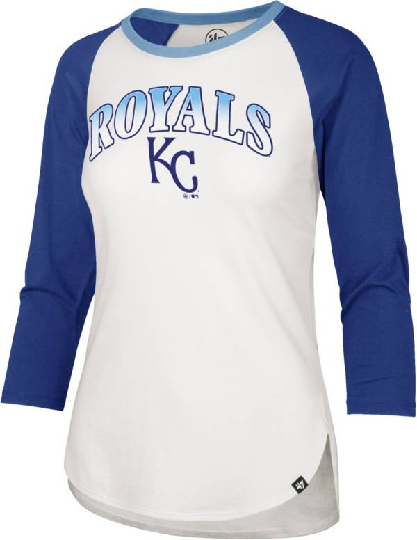 '47 Women's Kansas City Royals Royal Blue Splitter Raglan Three-Quarter Sleeve T-Shirt product image