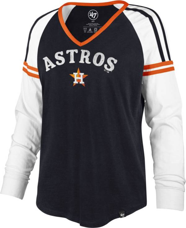 '47 Women's Houston Astros Navy Prime Long Sleeve V-Neck T-Shirt product image