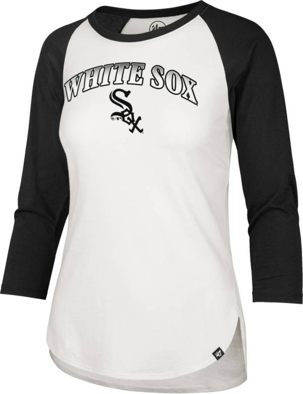 '47 Women's Chicago White Sox Black Splitter Raglan Three-Quarter Sleeve T-Shirt product image