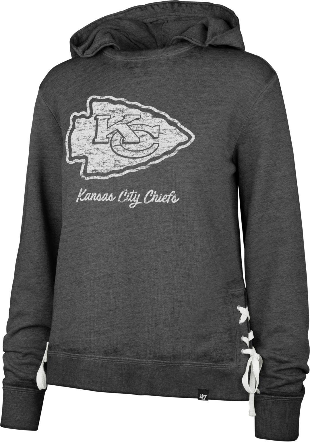 new concept 18fc3 ee66c '47 Women's Kansas City Chiefs Side Lace Black Hoodie