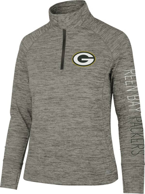 '47 Women's Green Bay Packers Impact Grey Quarter-Zip Pullover product image