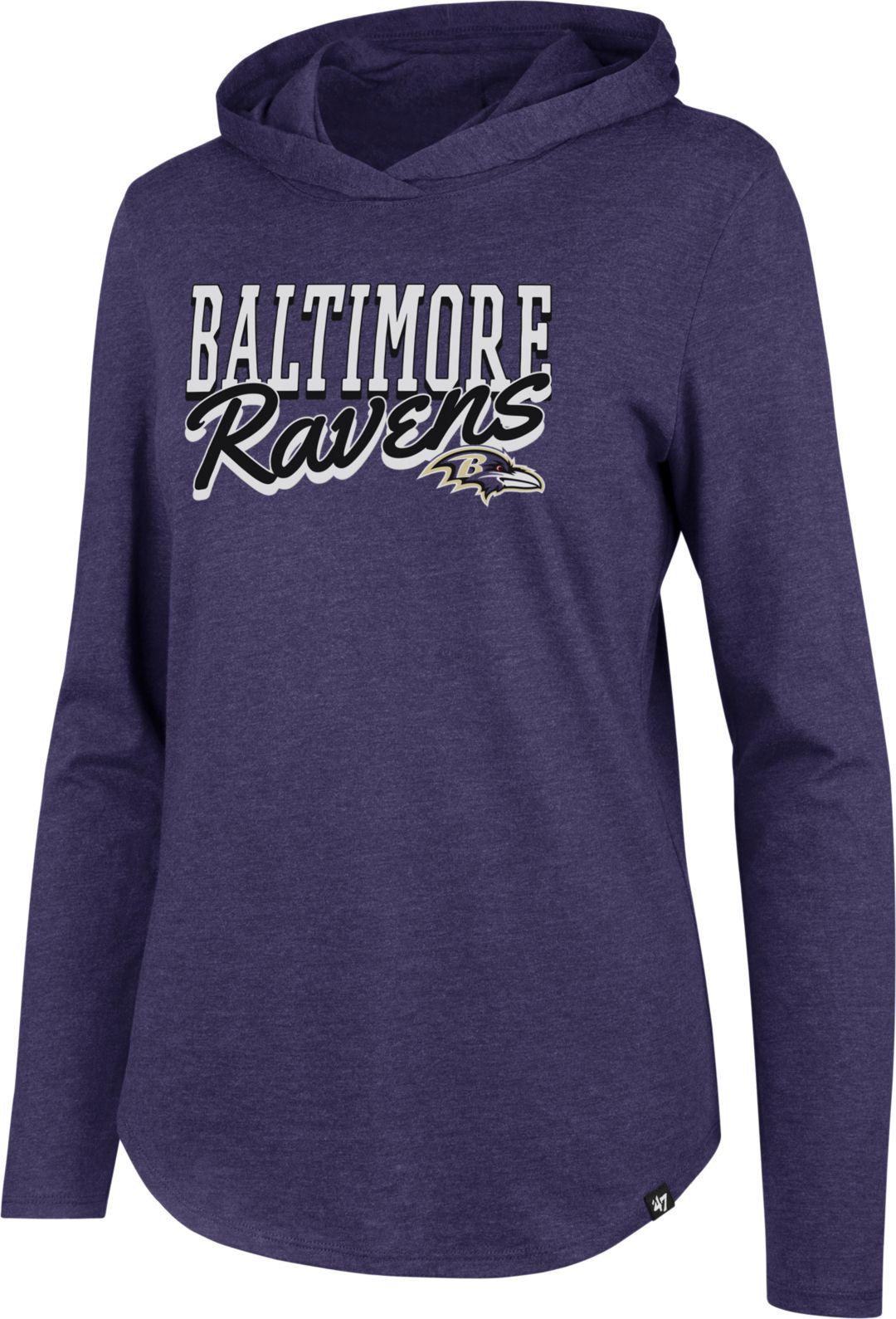 8e85d06b '47 Women's Baltimore Ravens Club Purple Hooded Long Sleeve Shirt