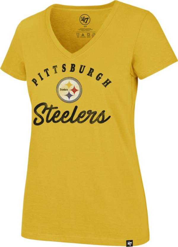 '47 Women's Pittsburgh Steelers Script Rivalry V-Neck Gold T-Shirt product image
