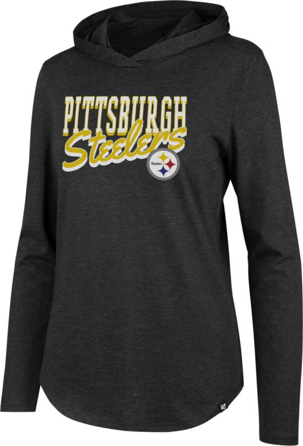 '47 Women's Pittsburgh Steelers Club Black Hooded Long Sleeve Shirt product image