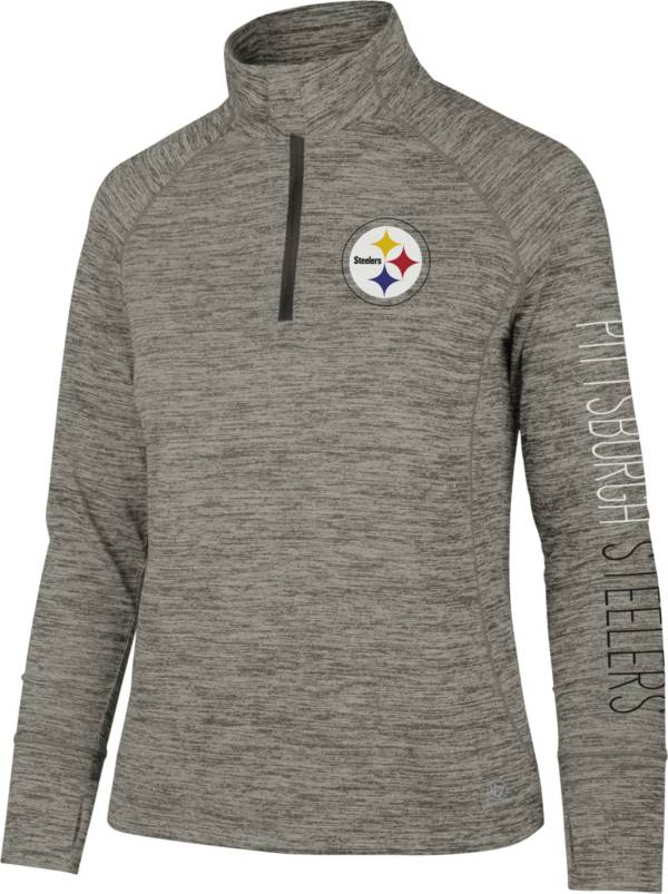 '47 Women's Pittsburgh Steelers Impact Grey Quarter-Zip Pullover product image