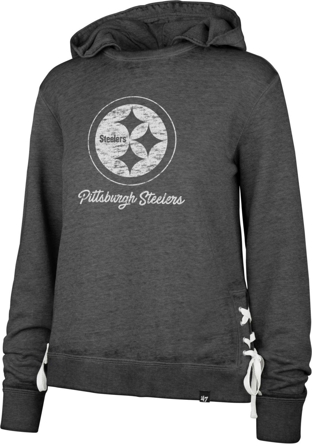 buy popular d466f 52681 '47 Women's Pittsburgh Steelers Side Lace Black Hoodie