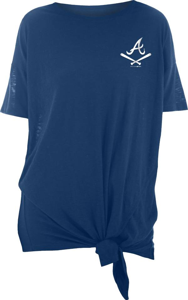 New Era Women's Atlanta Braves Navy Slub Side Tie T-Shirt product image