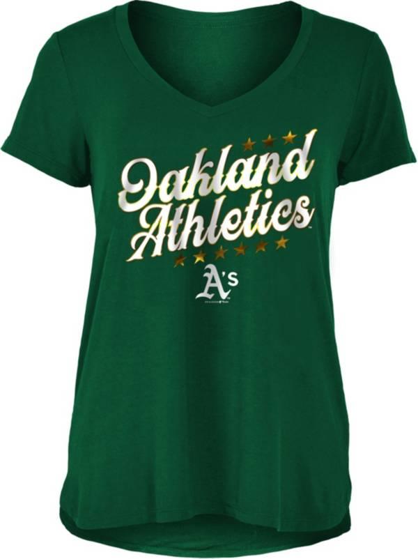 New Era Women's Oakland Athletics Green Rayon Spandex V-Neck T-Shirt product image