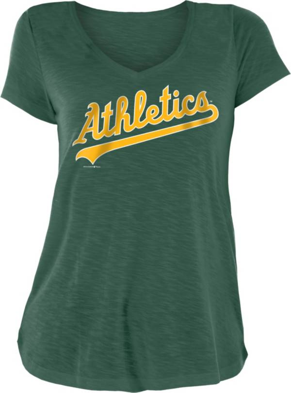 New Era Women's Oakland Athletics Green Slub V-Neck T-Shirt product image