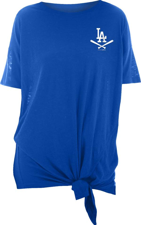New Era Women's Los Angeles Dodgers Blue Slub Side Tie T-Shirt product image