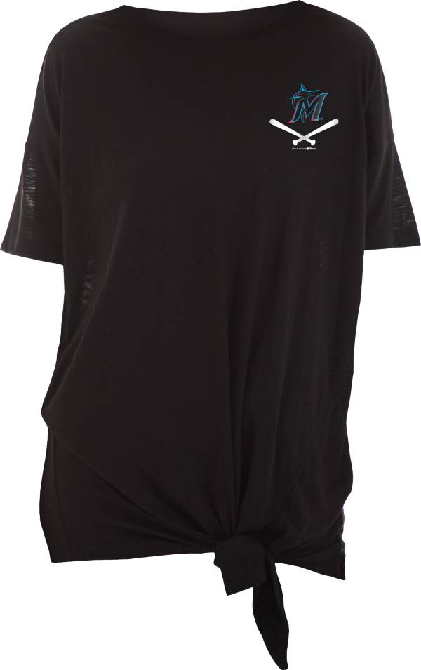 New Era Women's Miami Marlins Black Slub Side Tie T-Shirt product image