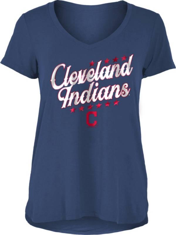 New Era Women's Cleveland Indians Navy Rayon Spandex V-Neck T-Shirt product image