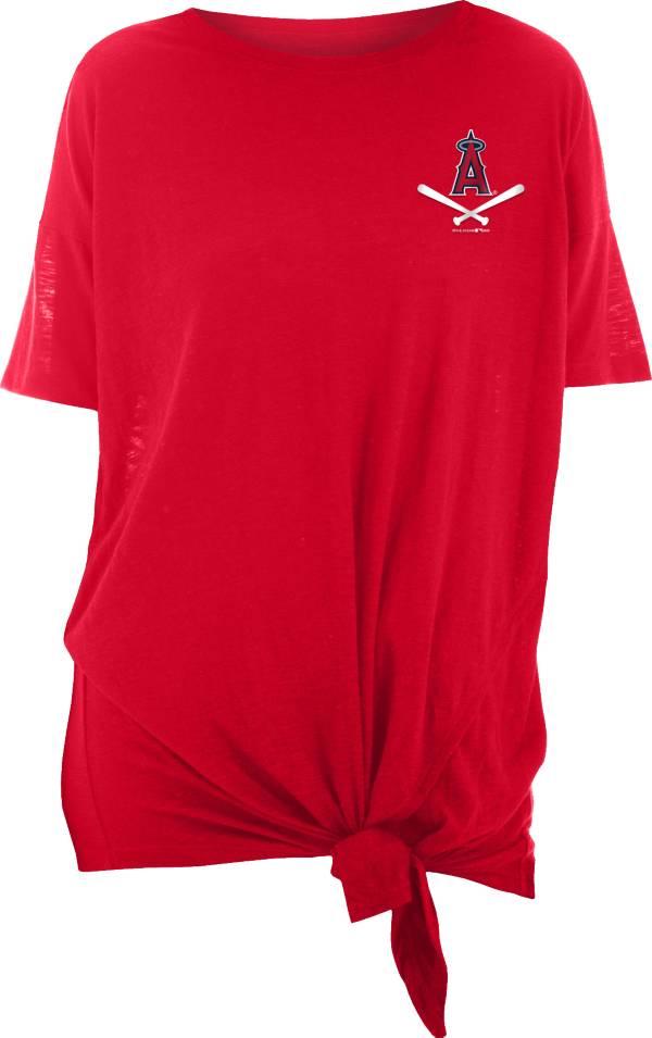 New Era Women's Los Angeles Angels Red Slub Side Tie T-Shirt product image