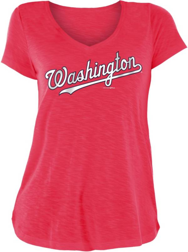 New Era Women's Washington Nationals Red Slub V-Neck T-Shirt product image